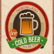 Vintage Cold Beer Poster. — Stock Vector