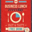 Vintage Bussiness Lunch Poster. — Vector de stock