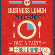 Vintage Bussiness Lunch Poster. — Vettoriale Stock