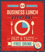 Vintage bussiness lunch affisch. — Stockvektor
