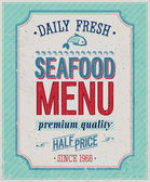 Vintage SeaFood Poster. — Stock Vector