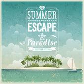 Vintage sahil görünümü poster. — Stok Vektör