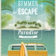 Vintage seaside view poster with surfing van. Vector background. — Vecteur