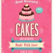 Vintage Cakes Poster. — Stock Vector