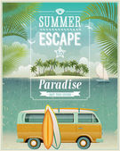Vintage seaside view poster with surfing van. Vector background. — Stok Vektör