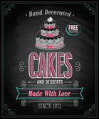Cakes Poster - Chalkboard. — Stock Vector