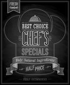 Chefs specials Poster Chalkboard. — Stock Vector