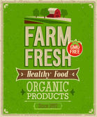 Vintage Farm Fresh Poster. — Stock Vector