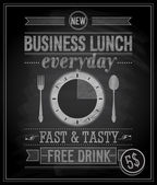 Bussiness Lunch Poster - Chalkboard. — Stock Vector
