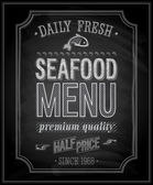 SeaFood Poster - Chalkboard. — Stock Vector