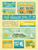 Vintage summer holidays and beach advertisements. — Stock Vector