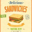 Stock Vector: Vintage Sandwiches Poster.