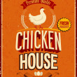 Stock Vector: Vintage Chicken House Poster. .