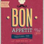 Vintage Bon Appetit Poster. Vector illustration. — Stock Vector #30118697