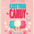 Vintage Cotton Candy Poster. Vector illustration. — Stock Vector