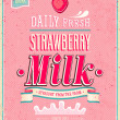 Stock Vector: Vintage Strawberry Milk poster. Vector illustration.