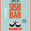 Stock Vector: Vintage Sushi Bar Poster. Vector illustration.
