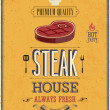 Vintage Steak House Poster. — Stock Vector
