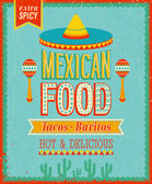 Vintage Mexican Food Poster. — Stock Vector