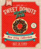 Vintage Donuts Poster. Vector illustration. — Stock Vector