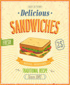 Vintage Sandwiches Poster. — Stock Vector