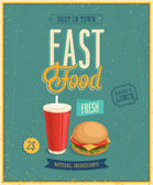 Vintage Fast Food Poster. Vector illustration. — Stock Vector