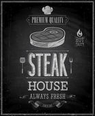 Vintage Steak House Poster - Chalkboard. Vector illustration. — Stock Vector