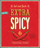 Vintage Extra Spicy Poster. — Stock Vector