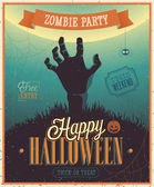 Halloween Zombie Party Poster. — 图库矢量图片
