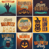 Fijar carteles de Halloween. — Vector de stock