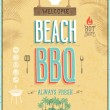 Stock Vector: Vintage Beach BBQ poster. Vector background.