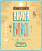 Vintage Beach BBQ poster. Vector background. — Stock Vector