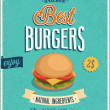 Vintage Burgers Poster. — Stock Vector