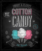 Vintage Cotton Candy Poster - Chalkboard. — Stock Vector