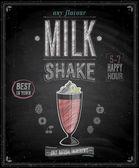 Vintage MilkShake Poster - Chalkboard. — Stock vektor