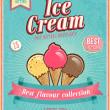 Vintage Ice Cream Poster. — Stock Vector