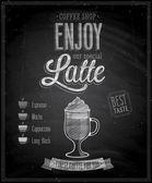 Vintage Latte Poster - Chalkboard. — Stock Vector