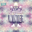 "Stock Vector: Vintage ""Hello Winter"" Poster."