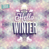 "Vintage ""Hello Winter"" Poster. — Stock Vector"