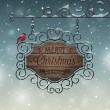 Christmas vintage greeting card - wooden signboard. — Stockvektor