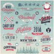 Christmas set - labels, emblems and other decorative elements. — Stok Vektör