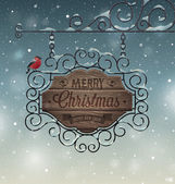 Christmas vintage greeting card - wooden signboard. — Stock Vector