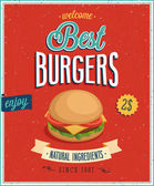 Plakat rocznika hamburgery. — Wektor stockowy