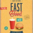 Stock Vector: Vintage Fast Food Poster.