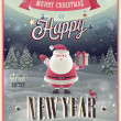 New Year Poster with Santa. — Stock Vector #36553475