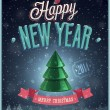 New Year Poster with Christmas tree. — Stockvectorbeeld