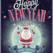 New Year Poster with Santa. — Stock Vector