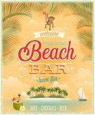 Vintage Beach Bar poster. — Stock Vector