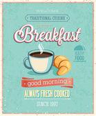 Vintage Breakfast Poster. — Stock Vector