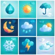 Weather set - geometric icons. — Stock Vector #51536103